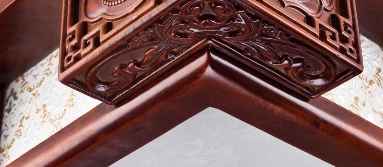 三宜古典中式长方形吸顶灯实木立体浮雕玉石点缀客厅会所高档灯具 led