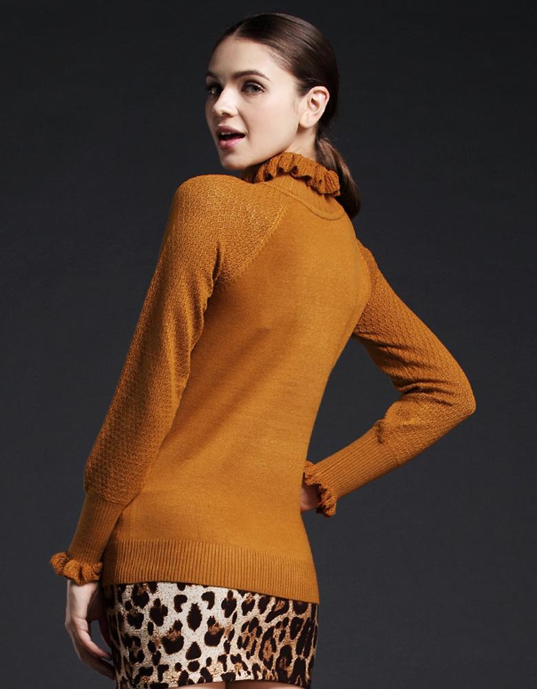 2015新款秋装灯笼袖女装针织衫 荷叶领打底衫 镂空韩版套头毛衣女 酒