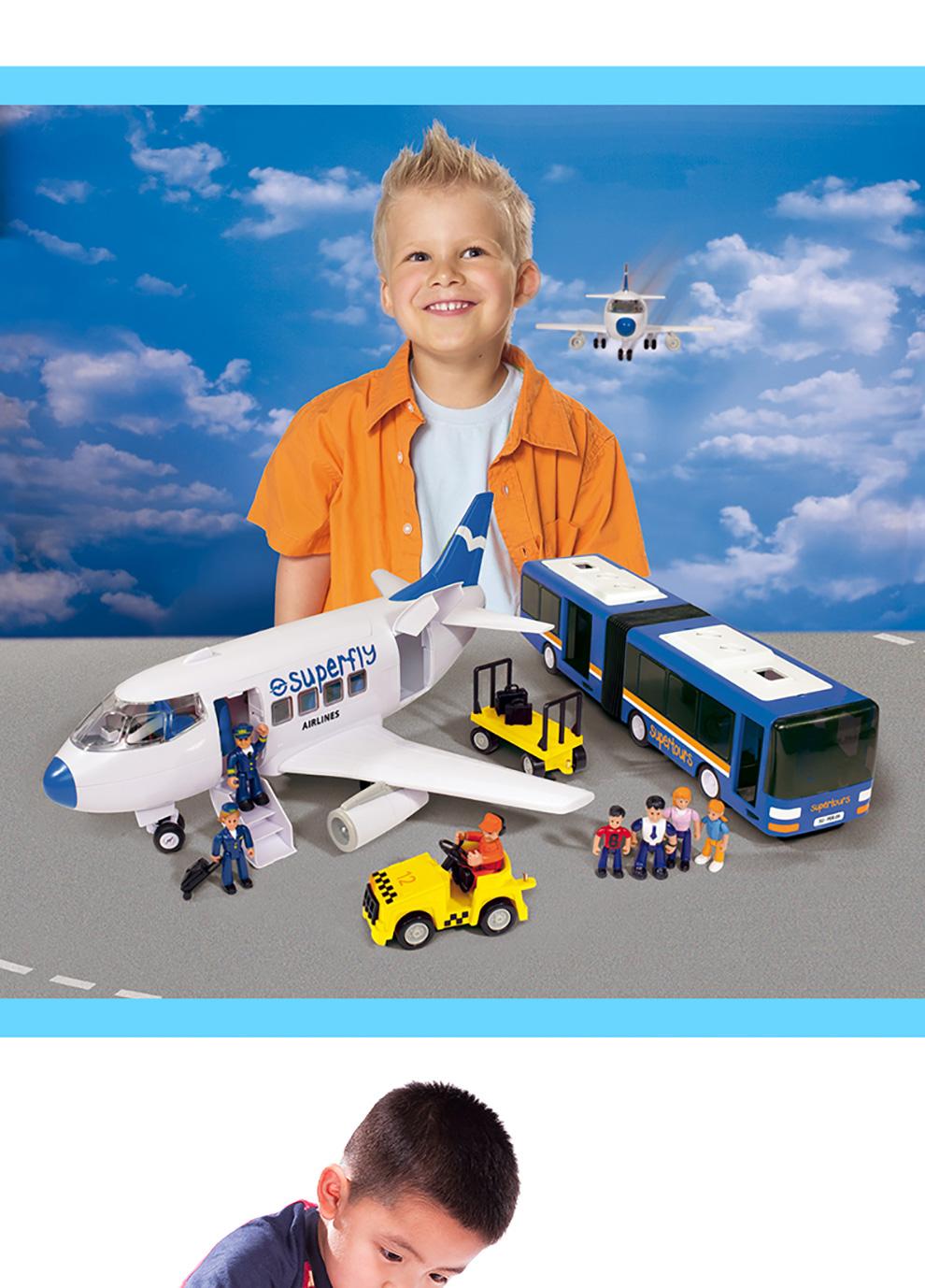 德国仙霸simba 炫玩航空基地飞机公交巴士组合套装 玩具飞机加汽车