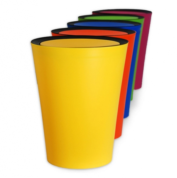 泰国qualy多彩时尚乐色筒垃圾桶创意进口翻转盖垃圾桶