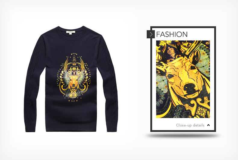 马克华菲(fairwhale)2014秋装新款印花套头针织羊毛衫