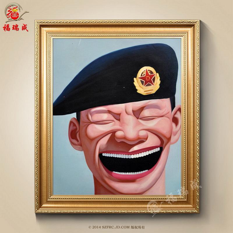 纯手绘油画有框油画临摹大嘴巴笑脸人物酒店宾馆家居
