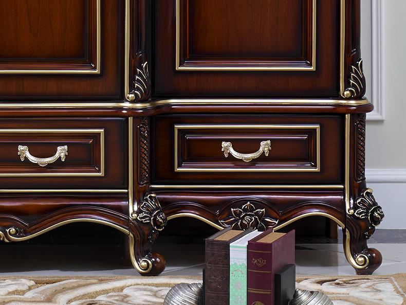 欧奈思 欧式古典 法式实木橡胶木雕花深色描金储物四门衣柜5d05图片