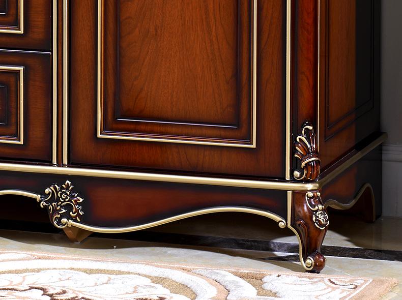 欧奈思 欧式古典 法式实木橡胶木雕花深色描金储物四门衣柜5d12图片