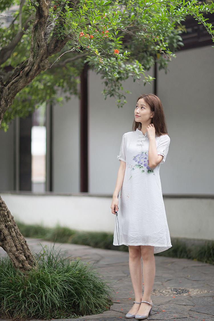 野狼温柔中国风女装复古唐装旗袍文艺范连衣裙民族风手绘 白色 xl