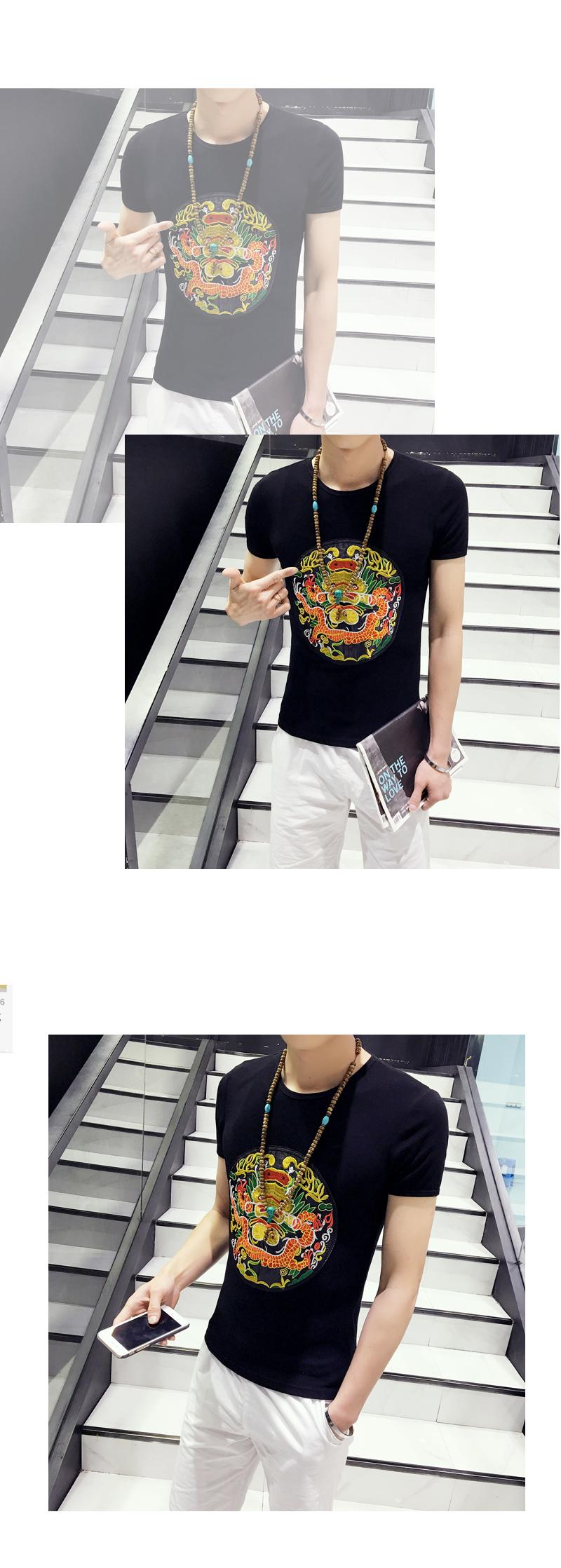 丹杰仕2016快手红人同款男精神小伙t恤社会小伙紧身中国风龙袍刺绣