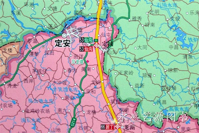 2017海南省地图挂图   海口市地图挂图 二合一地图 正反面印刷1.