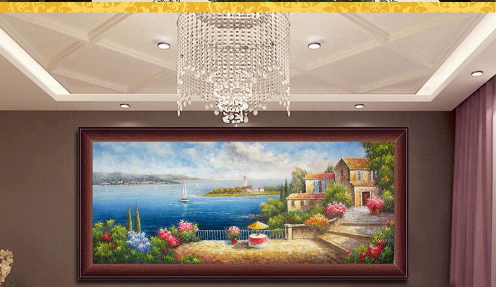 欧式油画地中海风景别墅横版客厅书房卧室有框画壁炉