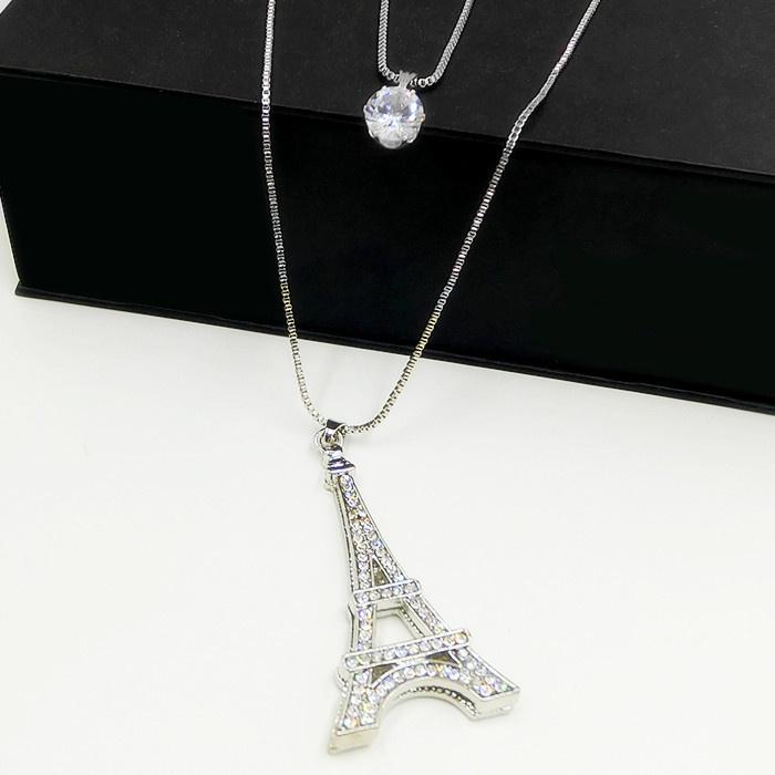 巴黎埃菲尔铁塔百搭镶钻石水晶镂空立体项链