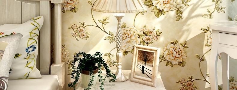 帕力美 田园壁纸 客厅电视背景墙 欧式无纺布卧室墙纸