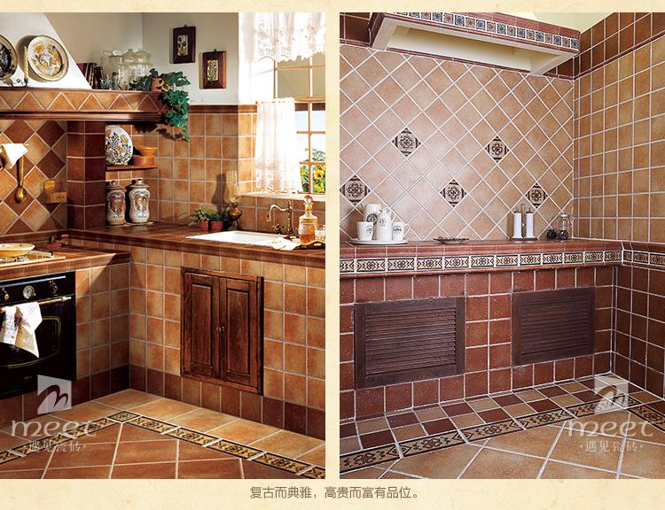 【遇见】厨房卫生间墙砖腰线 田园风格瓷砖 地中海仿古砖 l003 15706图片