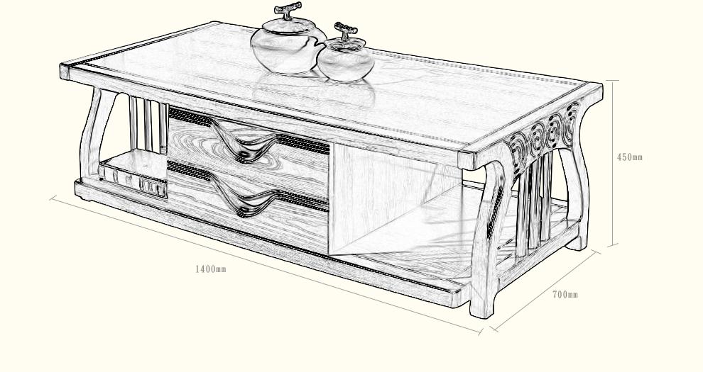 成都家具馆朗维士家居 现代新中式实木长茶几 小户型客厅茶几电视柜