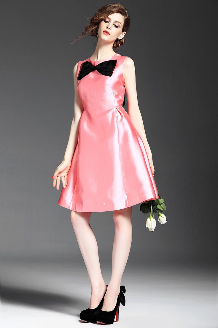 芮婕服装*2015夏季新款女装时尚圆领无袖蝴蝶结立体装饰纯色修身抽褶