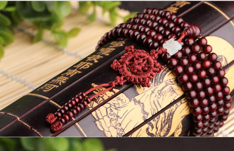 中国结佛头 216粒佛珠手串 三圈圆珠手链项链 香木味道 商品编号