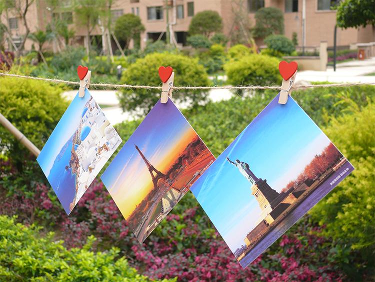 世界各地城市文艺景点风景旅行旅游小清新卡片正能量明信片100张 油画