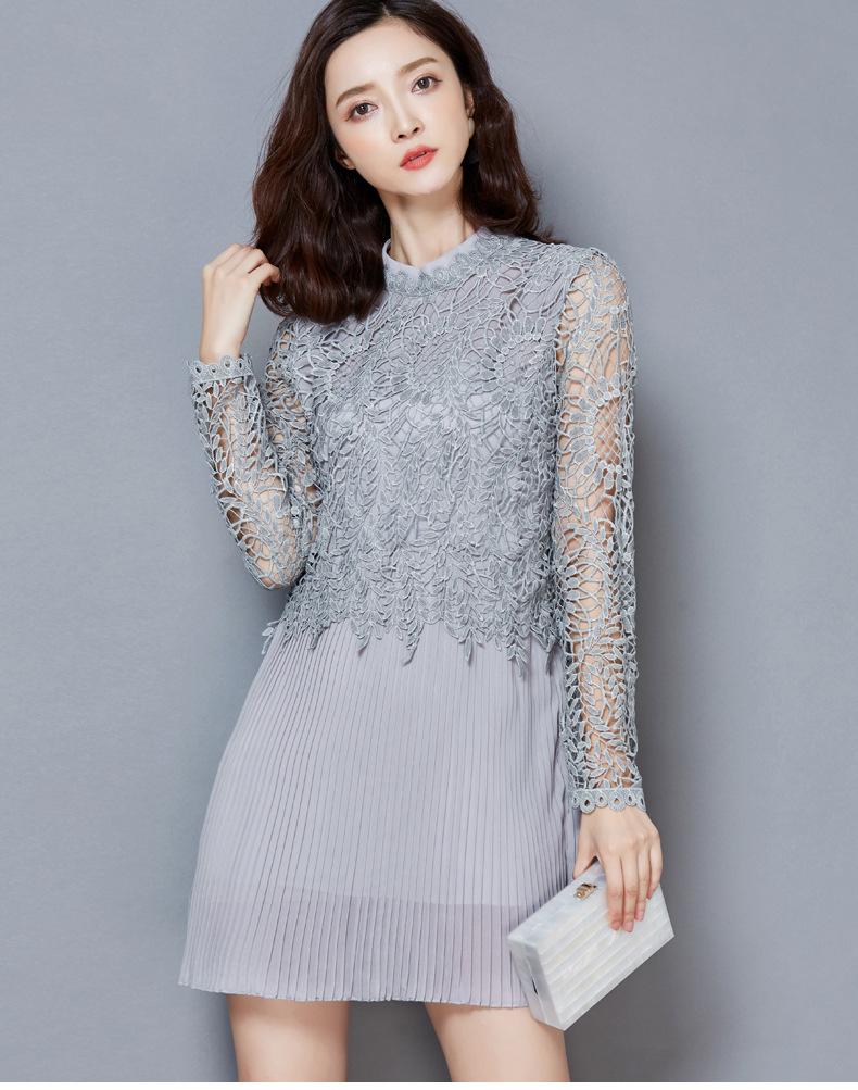 翎影时尚 2016春装雪纺连衣裙韩版女装修身立领百褶裙