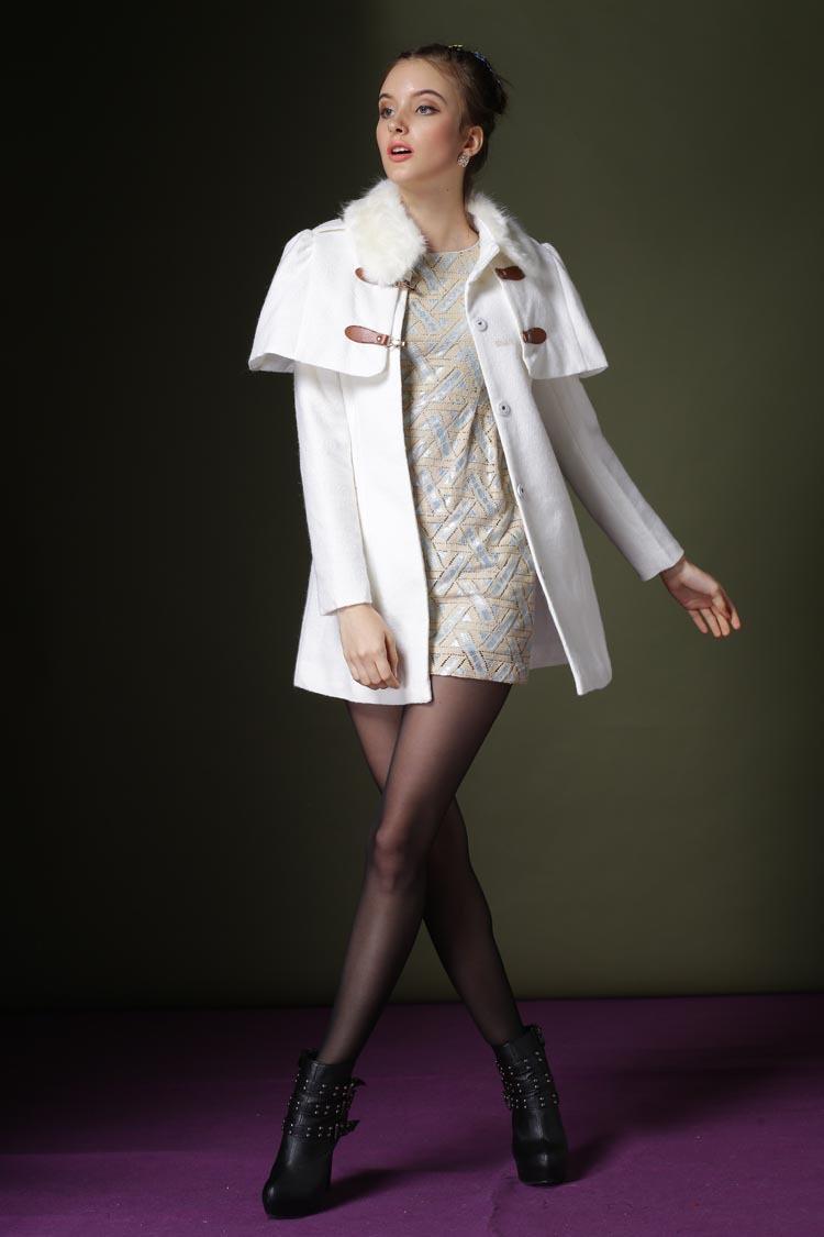 杉杉中老年女装_杉杉来了赵丽颖明星同款女装韩版斗篷毛呢外套女欧美中长款大衣 白色