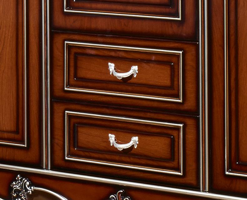 欧奈思 欧式古典 法式实木橡胶木雕花深色描金储物三门衣柜5d12图片