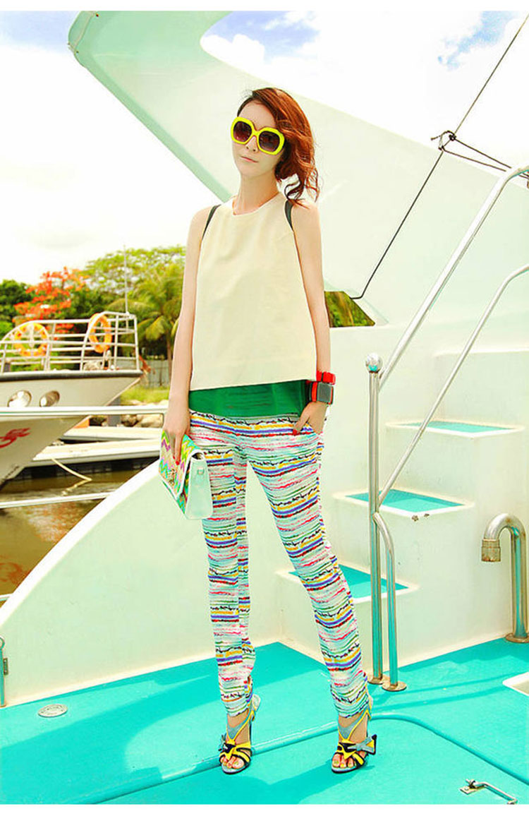 凯诗帕 2014夏女装新款清新拼色假两件t恤 彩色条纹小脚裤套装 花色
