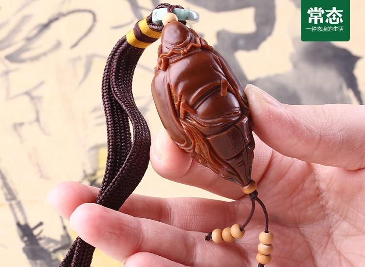 苏工夏雨精品橄榄核雕刻单籽单核钟馗手机链|n3114
