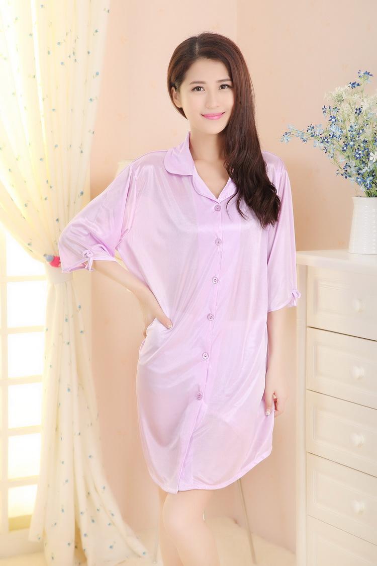 美再纯抢购时尚夏装衬衫睡裙短袖前扣仿真丝冰丝女睡衣休闲家居服套装