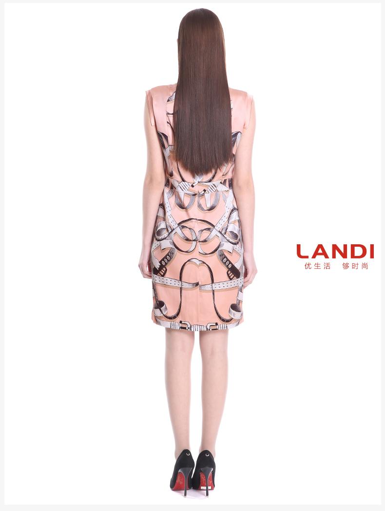landi蓝地正品 2016夏季新款桑蚕丝镜像印花舒适薄连衣裙glpxl313