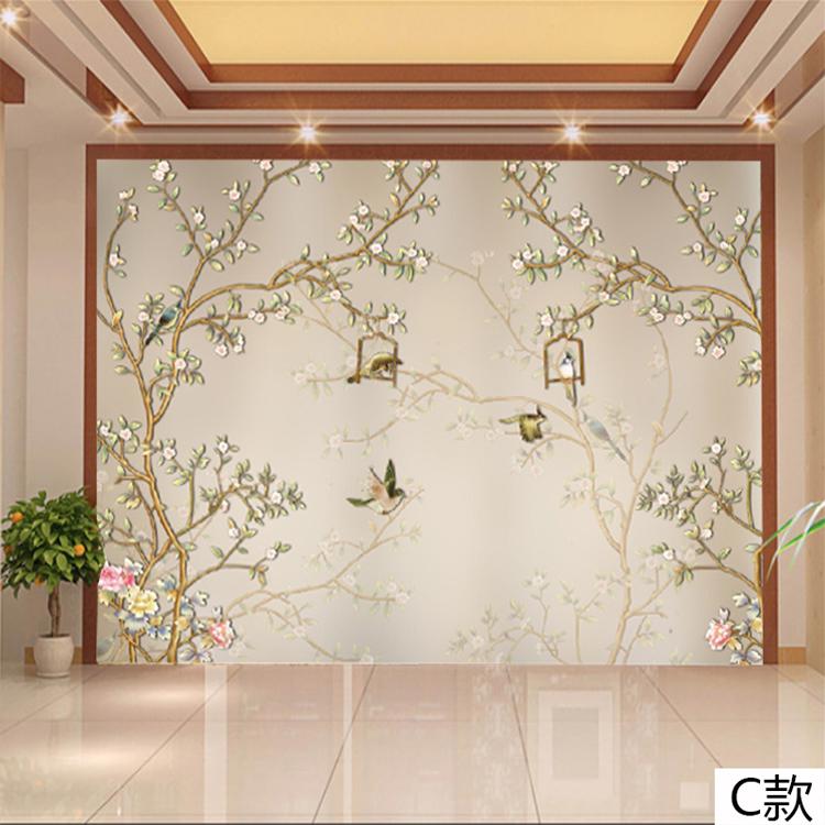 塞拉维美式装修花鸟墙纸壁画现代简约客厅沙发电视背景墙壁纸墙布影视图片