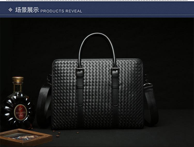 新款男士手提包纯手工编织电脑包高档商务包金领必备办公包 蓝色纯