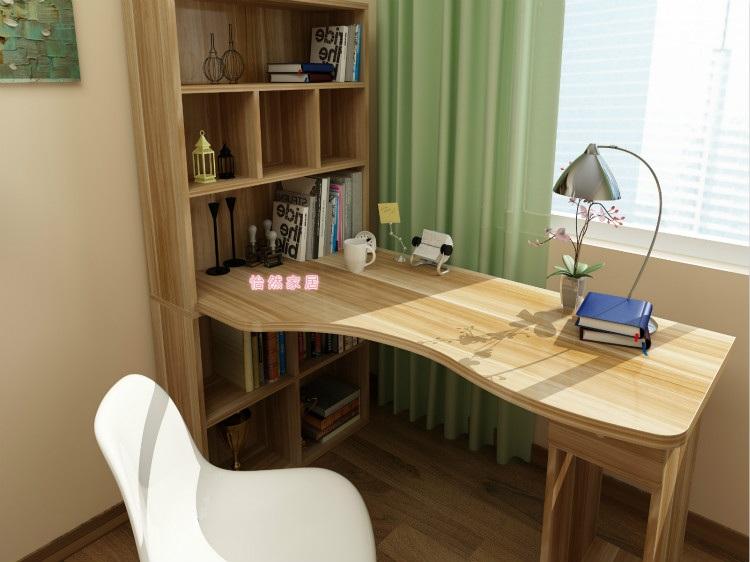 家用简约转角台式电脑桌书桌书柜书架组合儿童 学习桌