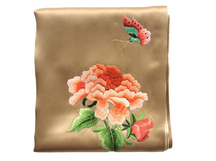 温馨里 蜀绣真丝巾 手工刺绣围巾工艺品 送老外出国 中国风丝绸礼品图片