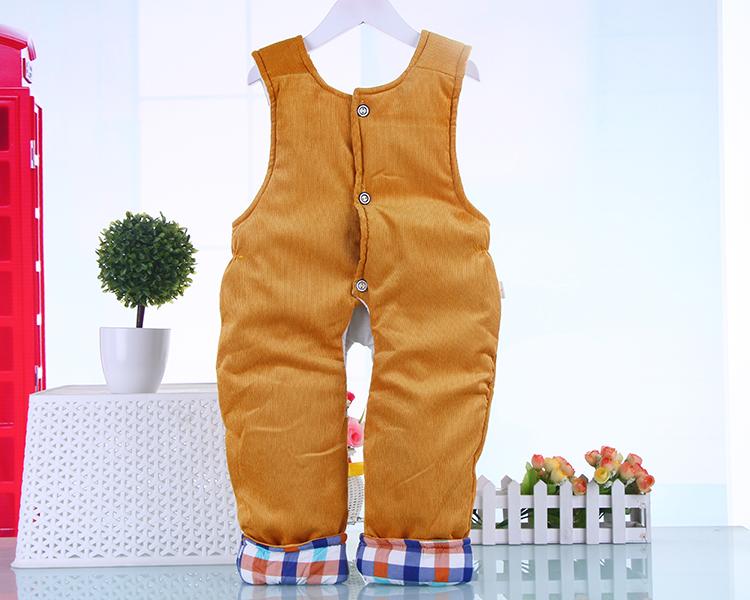 男女宝宝秋冬款加厚保暖背带裤0-2岁半婴儿连体棉裤男童女童灯芯绒