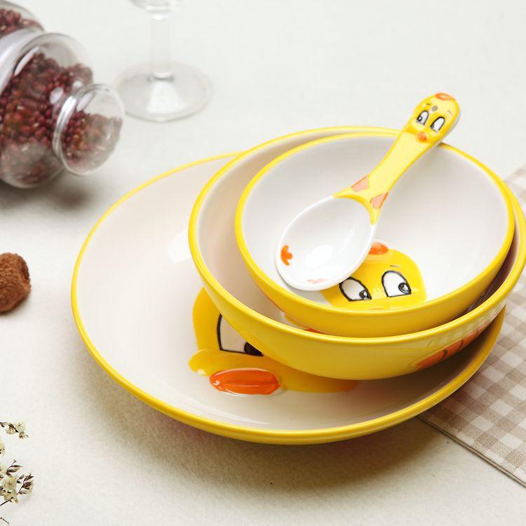 陶瓷儿童餐具可爱卡通面碗盘子礼品套装3d手绘动物