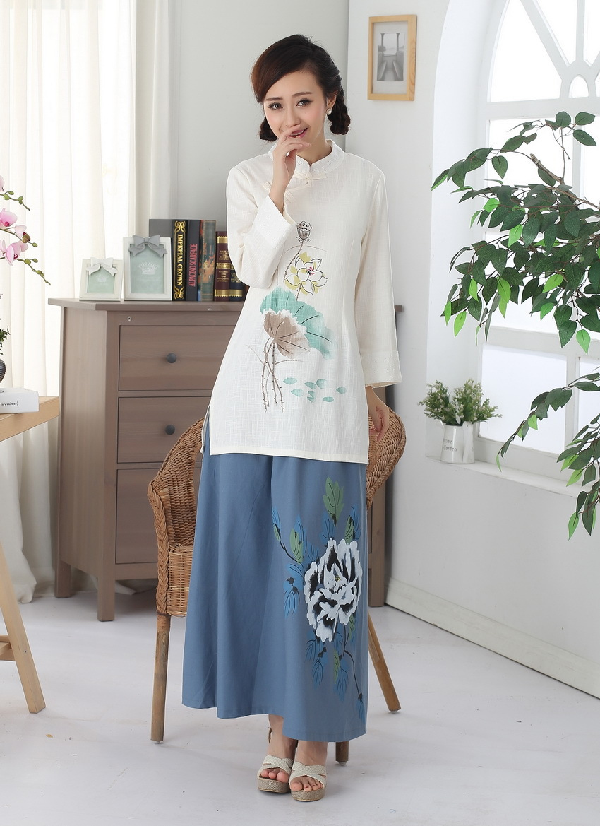 唐装改良长袖手绘 上衣 棉麻亚麻中式民族风女装上衣