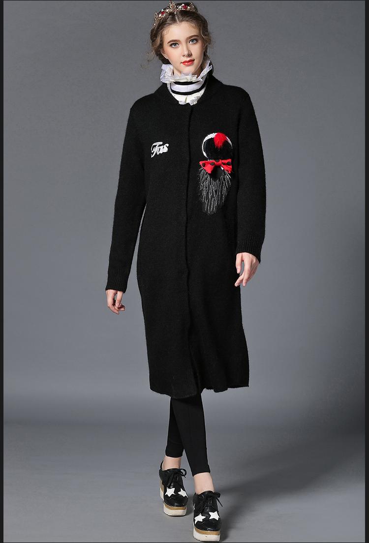 诺妮梦2015新款高端欧美大码女装秋装胖mm针织衫女开衫中长款毛衣外套