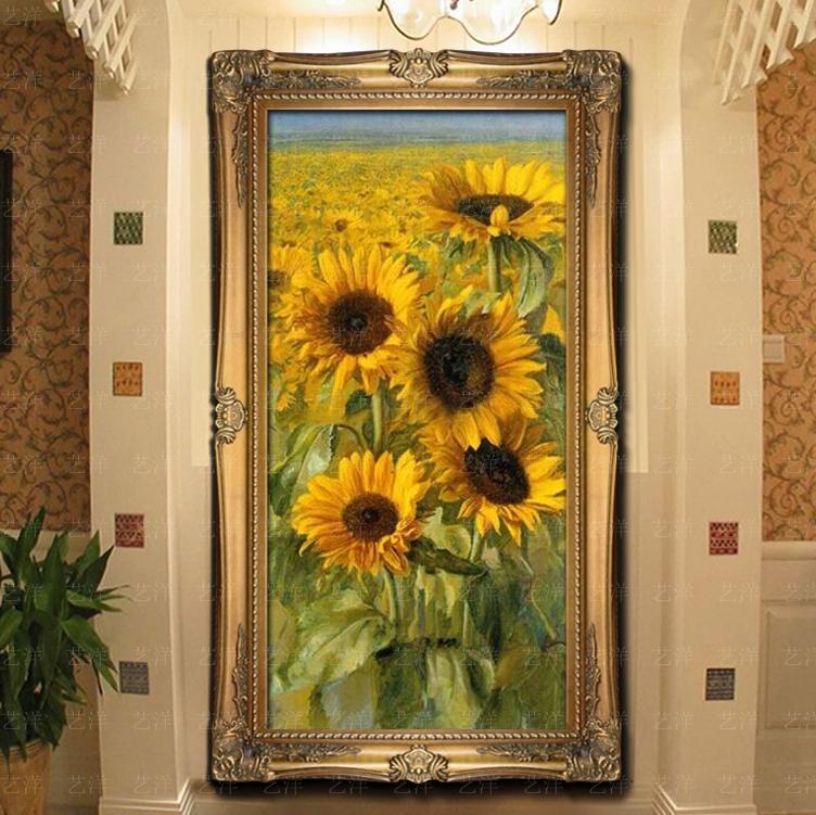 手工欧式花卉向日葵油画美式田园风景客厅餐厅玄关挂画有框装饰画 104