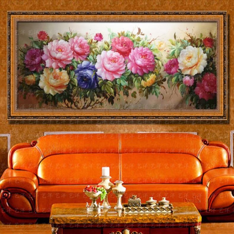 纯手绘欧式花卉油画花开富贵客厅卧室玄关牡丹挂画有框装饰画横幅 103