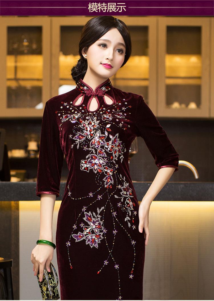 金丝绒旗袍