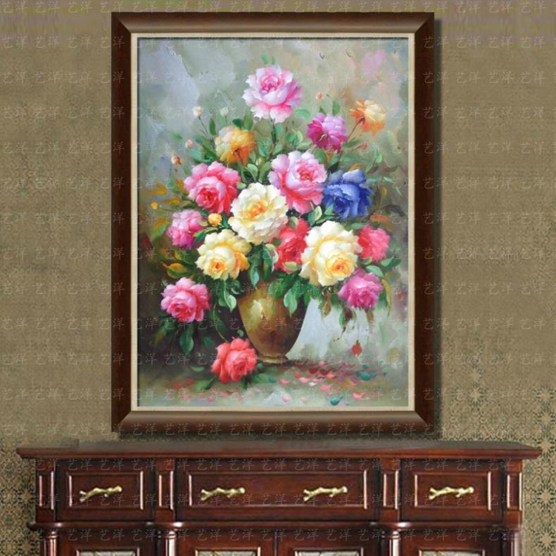 竖版纯手绘油画富贵牡丹花卉欧式中式客厅玄关过道挂