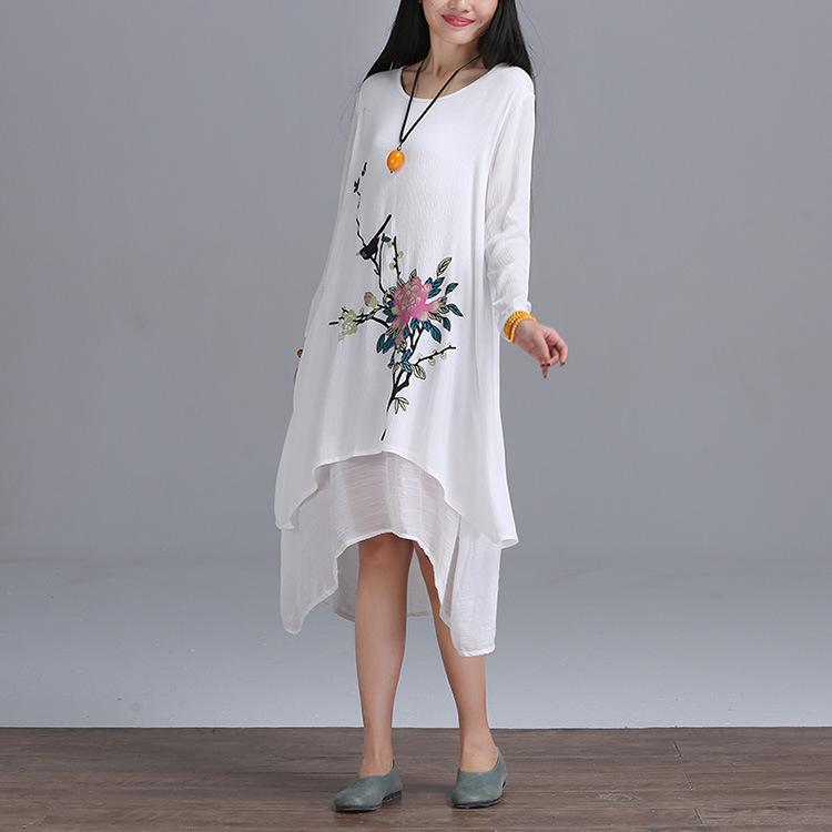 手绘长袖棉麻连衣裙