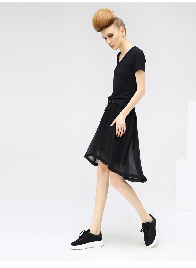 cocobella2016春装新款欧美范时尚运动风不规下摆半身图片