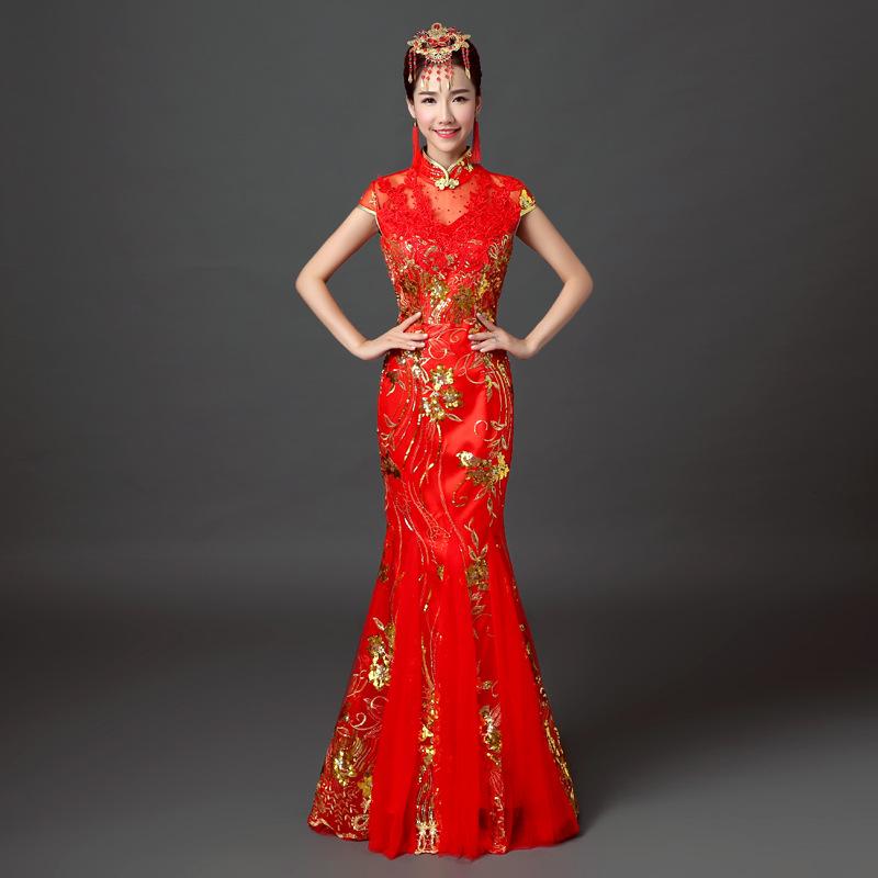 新款2016婚纱礼服新娘结婚中式旗袍红色长款敬酒服秀禾服季女fz777图片