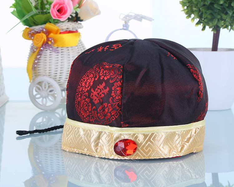 春秋新款0-6个月男宝宝唐装帽子 少爷帽周岁生日礼帽新年装小地主帽