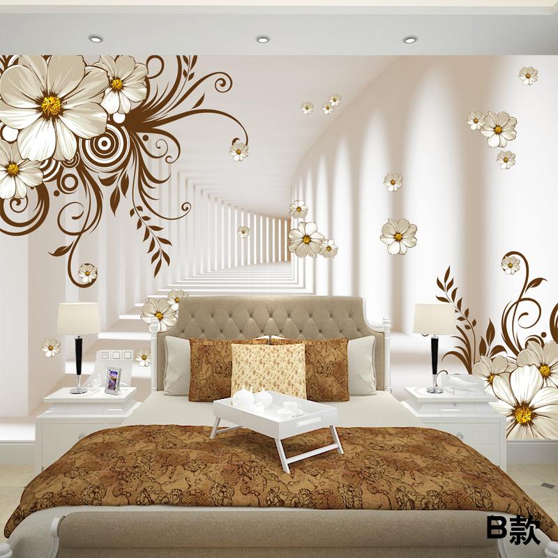 塞拉维欧式简约古典花卉3d软包画墙纸壁画简欧风格客厅电视墙壁纸沙发图片
