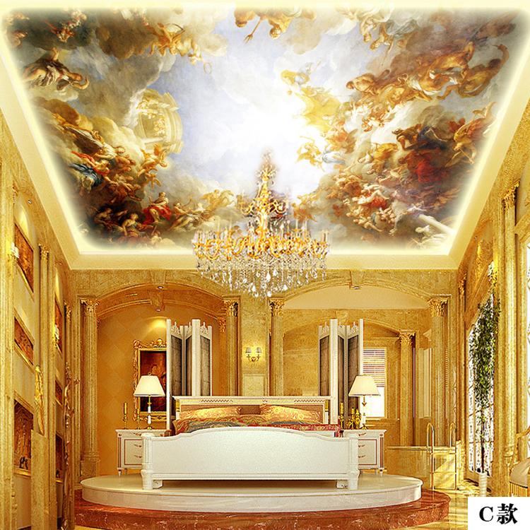 欧式天花板吊顶墙纸壁纸希腊神话众神汇聚酒店大堂图片