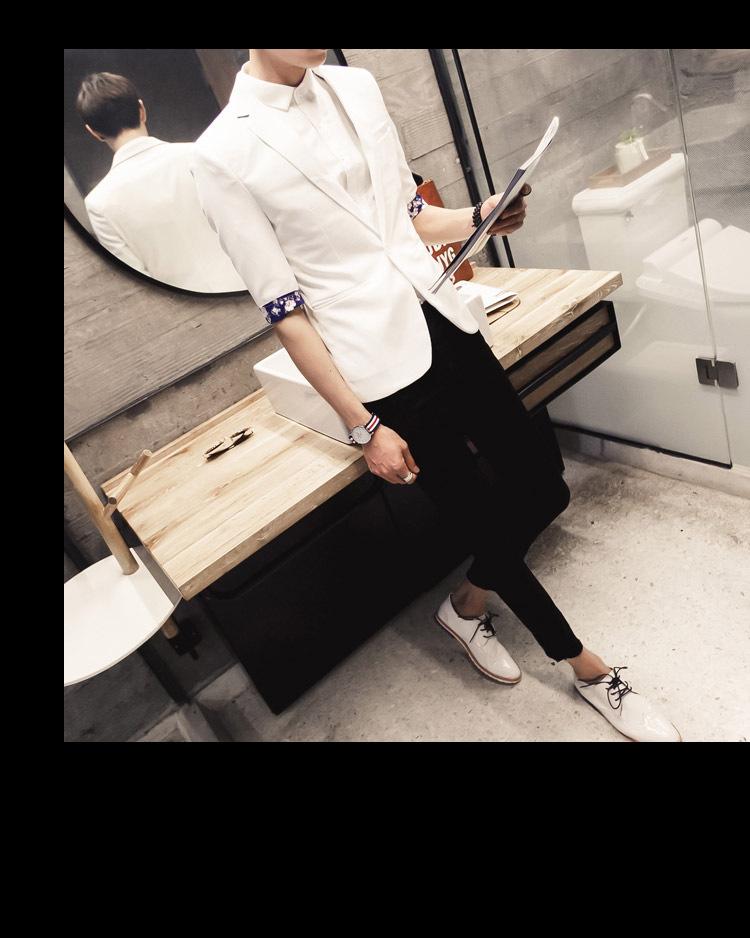 2016春夏新款七分袖男士小西装英伦时尚修身发型师潮流西服男夜店