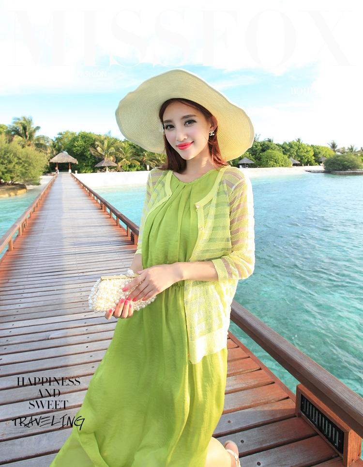 九月女装*夏款度假针织衫波西米亚长裙搭配修身空调开衫条纹防晒服