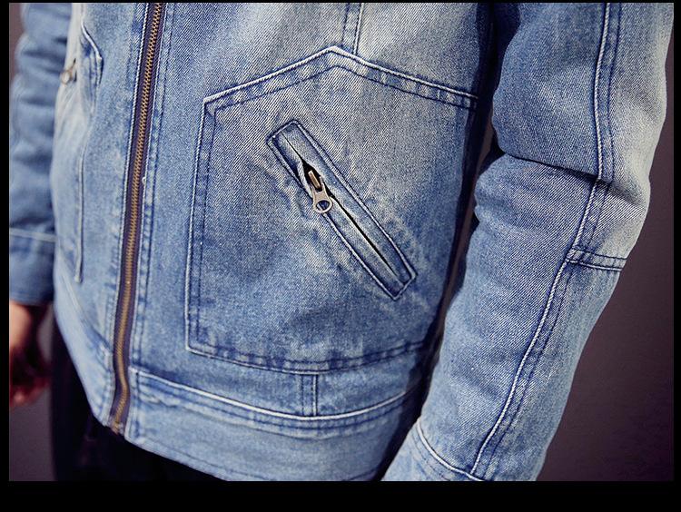 丹杰仕15秋季男装牛仔外套 男士修身针织连帽牛仔夹克