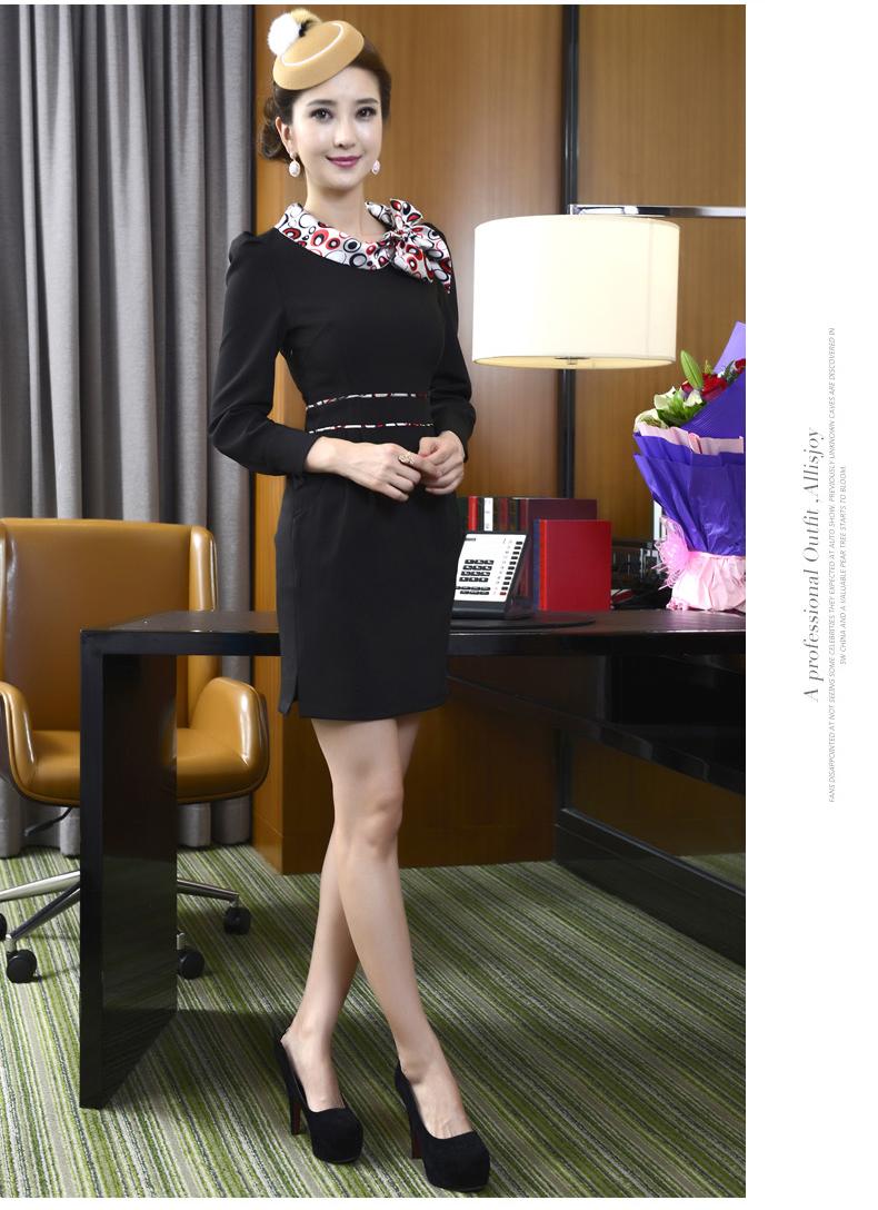 300的空姐_浅末 女装 职业连衣裙空姐工作一步裙中袖女b9—300 黑色长袖 xxl