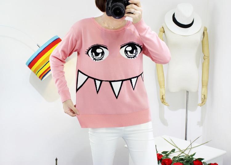 依锦莉 2015甜美可爱卡通牙齿学院长袖针织衫少女毛衣