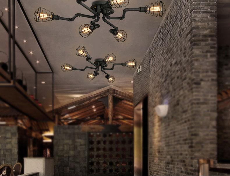 柴火loft美式复古吸顶灯 工业风创意个性铁艺酒吧客厅图片